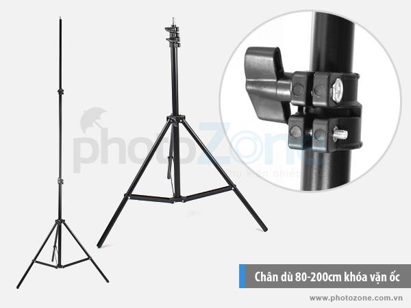 Chân đèn (Light stand) 80-200cm khóa vặn ốc