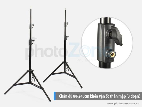 Chân đèn (Light stand) 80-240cm khóa vặn ốc thân to