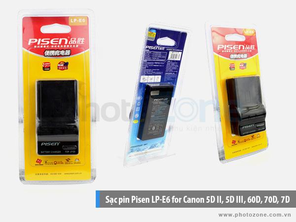 Sạc pin Canon LP-E6 Pisen for Canon 80D, 70D, 60D, 6D, 7D, 5DII, 5DIII