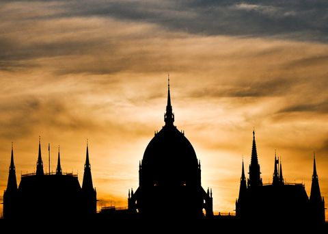 Hungarian Parliament Building Silhouette