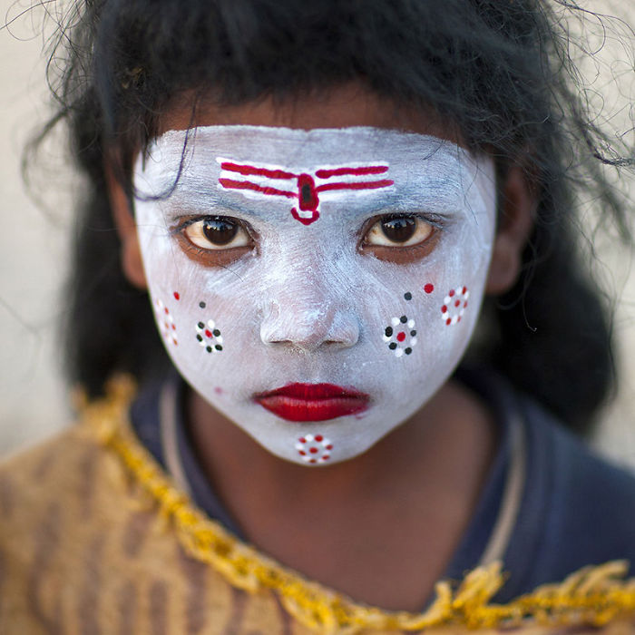Young Girl With Shiva Make Up, Maha Kumbh Mela, Allahabad, India