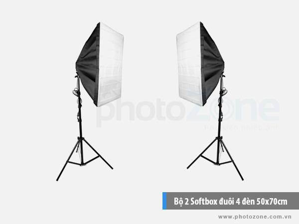 Bộ 2 Softbox đuôi 4 đèn 50x70cm không đèn