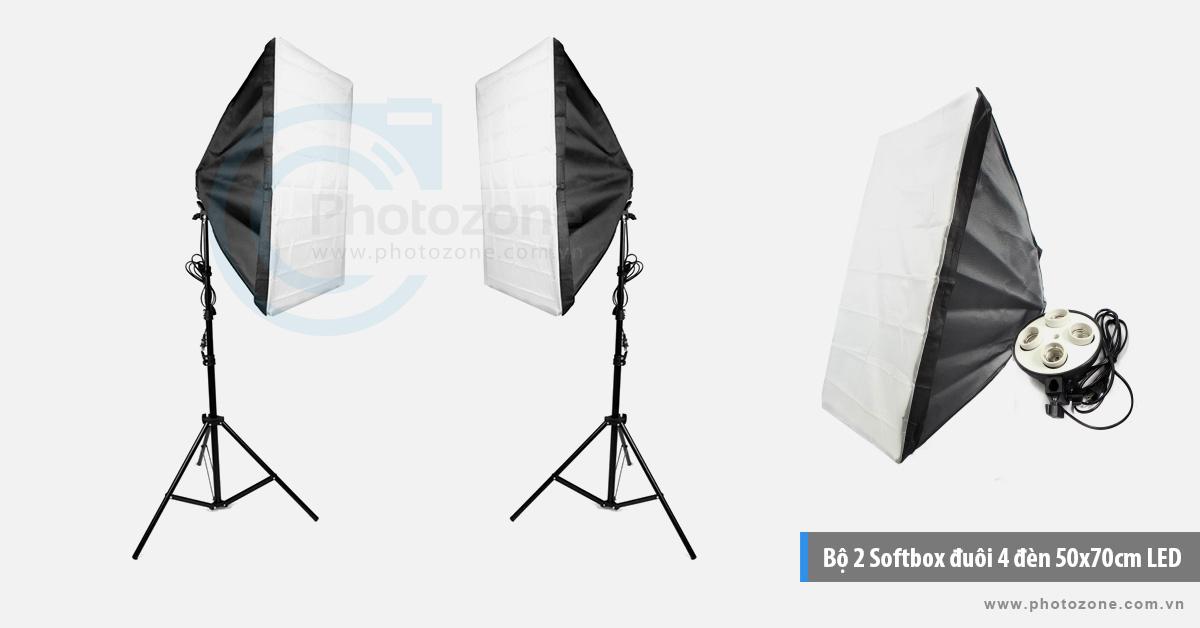 Bộ 2 Softbox đuôi 4 đèn 50x70cm LED 320W