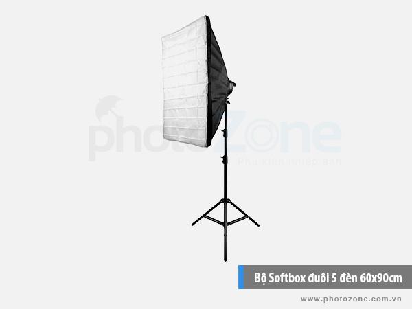 Bộ Softbox đuôi 5 đèn 60x90cm LED 150W