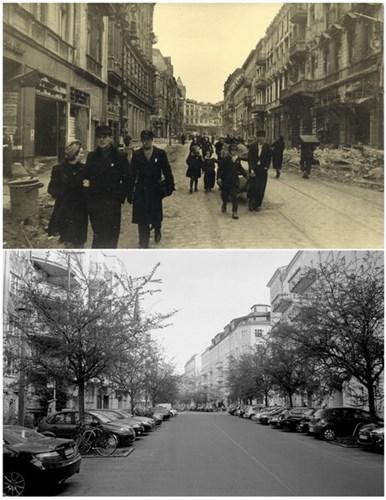 Người dân Berlin đi bộ trên phố Borsig sau khi thành phố được quân đội Liên Xô giải phóng (ảnh trên) và phố Borsig ngày 20/4/2015 (ảnh dưới).