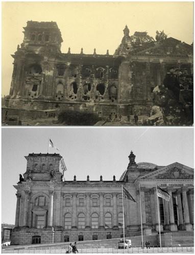 Tòa nhà Reichstag đổ nát vào tháng 5/1945 (ảnh trên) và tòa nhà Reichstag ngày 20/4/2015 (ảnh dưới).