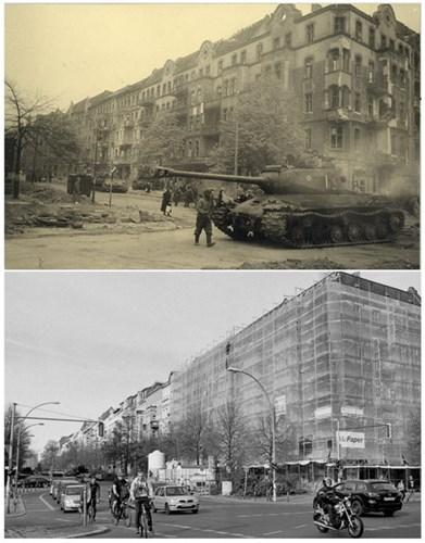 Xe tăng Liên Xô tại nơi giao cắt giữa phố Proskauer và đại lộ Frankfurter (ảnh trên). Cùng địa điểm trên, ngày 20/4/2015 (ảnh dưới).