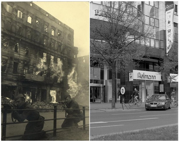 Bensch đã mua một máy phim FED - giống loại máy Georgiy Samsonov đã sử dụng - và lắp phim đen trắng để chụp lại một loạt ảnh tại các địa điểm tương tự như Samsonov đã chụp ở Berlin sau 70 năm. Ảnh: Binh lính Liên Xô ngắm bắn trước một ngôi nhà đang cháy ở phố Frankfurter Allee (ảnh trái), phố Frankfurter Allee ngày 19/4/2015 (ảnh phải).