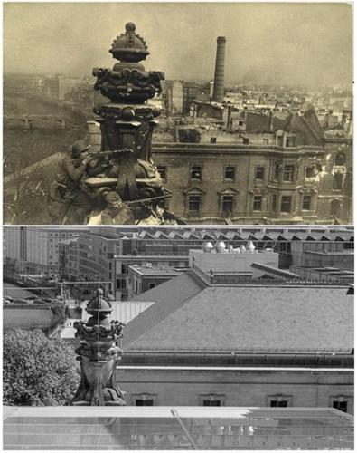 Người lính Liên Xô chiến đấu đỉnh của tòa nhà Reichstag (tòa nhà Quốc hội Đức) (ảnh trên) và tại vị trí tương tự ngày 20/4/2015 (ảnh dưới).