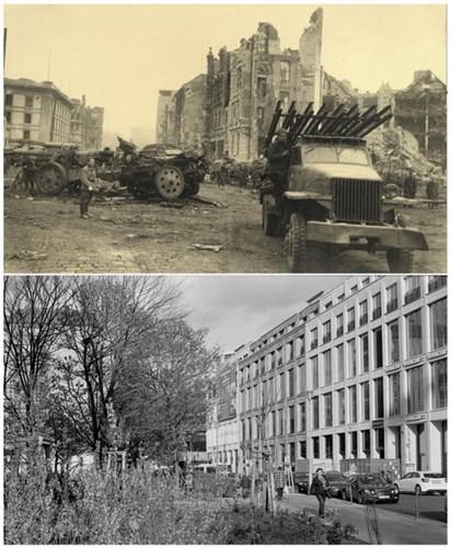 Một chiếc xe của quân đội Liên Xô đỗ bên cạnh tòa nhà Neue Reichskanzlei (ảnh trên) và ảnh chụp tại cùng địa điểm ngày 20/4/2015 (ảnh dưới).