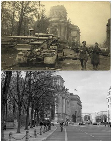 Trục đường dẫn đến tòa nhà Reichstag sau khi quân đội Liên Xô kiểm soát Berlin (ảnh trên) và ảnh chụp tại cùng địa điểm ngày 18/4/2015 (ảnh dưới).