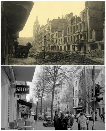 Phố Gruenberger tan hoang sau cuộc chiến (ảnh trên) và phố Gruenberger ngày 19/4/2015 (ảnh dưới).