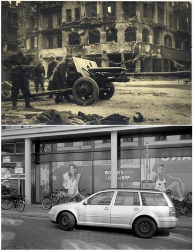 Chiến sĩ Liên Xô trên phố August (ảnh trên) và phố August ngày 20/4/2015 (ảnh dưới).