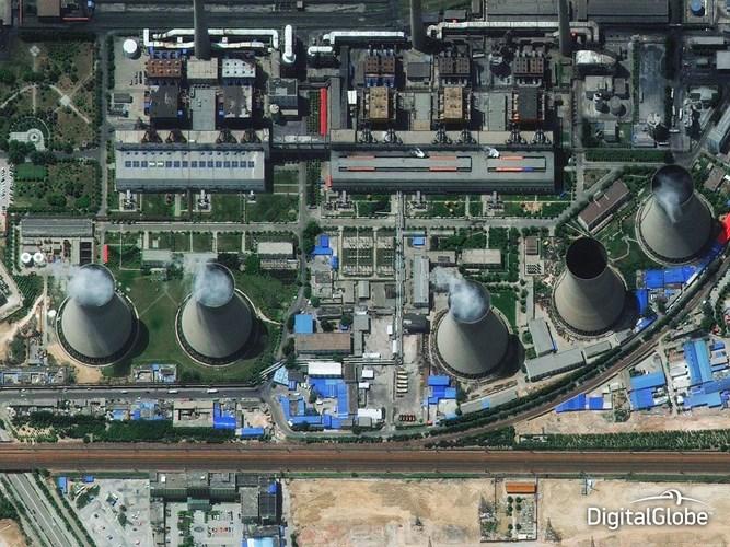 Ảnh chụp mỏ than Hà Nam ở Trung Quốc từ trên không ngoạn mục. Bức ảnh vệ tinh có thể chỉ ra mức độ dự trữ khí thải và nhiên liệu của nhà máy.