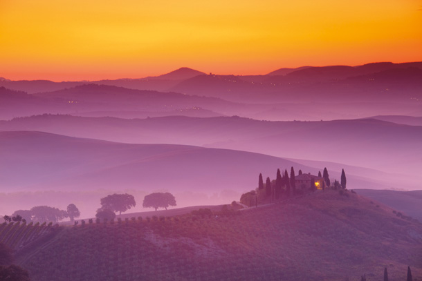 Morning Mist at Belvedere, Val d' Orcia, Tuscany, Italy