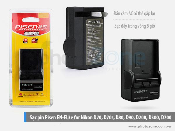 Sạc pin Nikon EN-EL3e Pisen for Nikon D70, D70s, D80, D90, D200, D300, D700