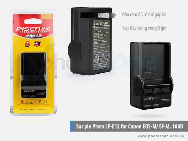 Sạc pin Canon LP-E12 Pisen for Canon EOS M10, 100D
