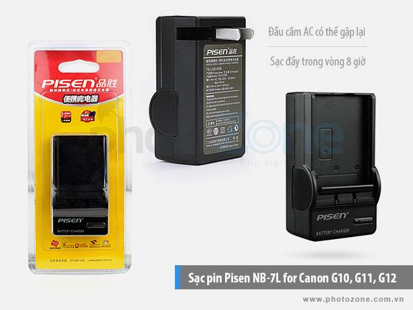 Sạc pin Canon NB-7L Pisen for Canon G10, G11, G12