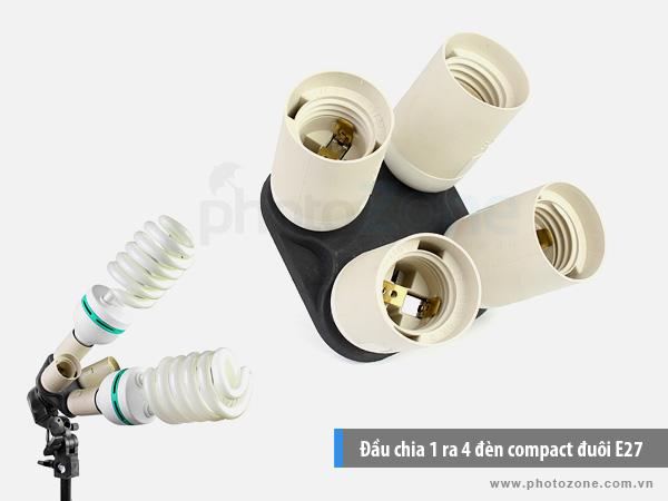 Đầu chia 1 ra 4 đèn compact đuôi E27