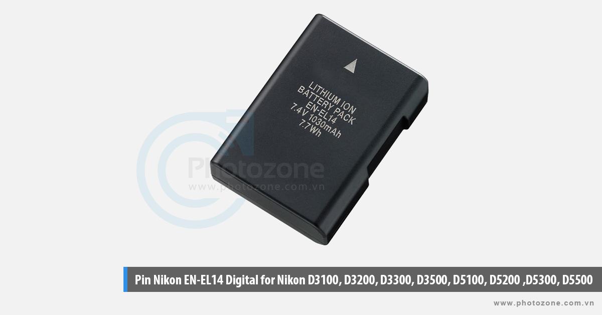 Pin Nikon EN-EL14 Digital for Nikon P7000, P7100, P7700, P7800, D3100, D3200, D3300, D5100, D5200, D5300, D5500, Df