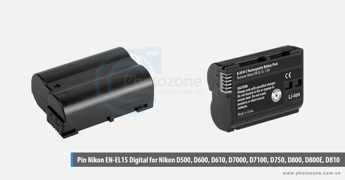 Pin Nikon EN-EL15 Digital for Nikon D500, D600, D610, D7000, D7100, D750, D800, D800E, D810