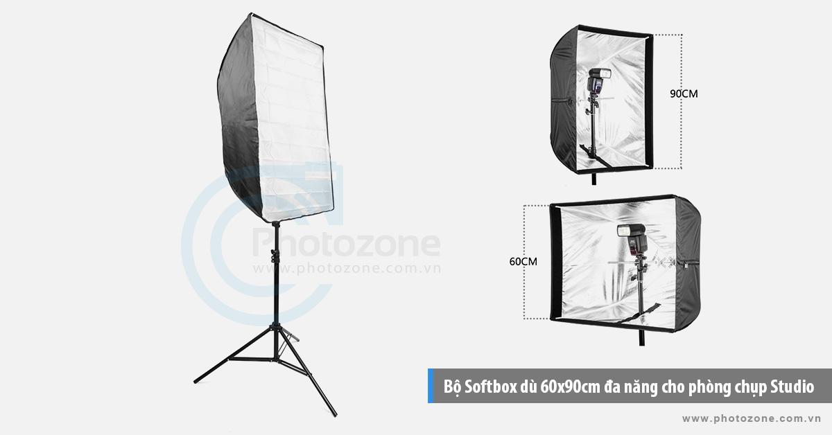 Bộ Softbox dù 60x90cm đa năng chuyên chụp ngoại cảnh