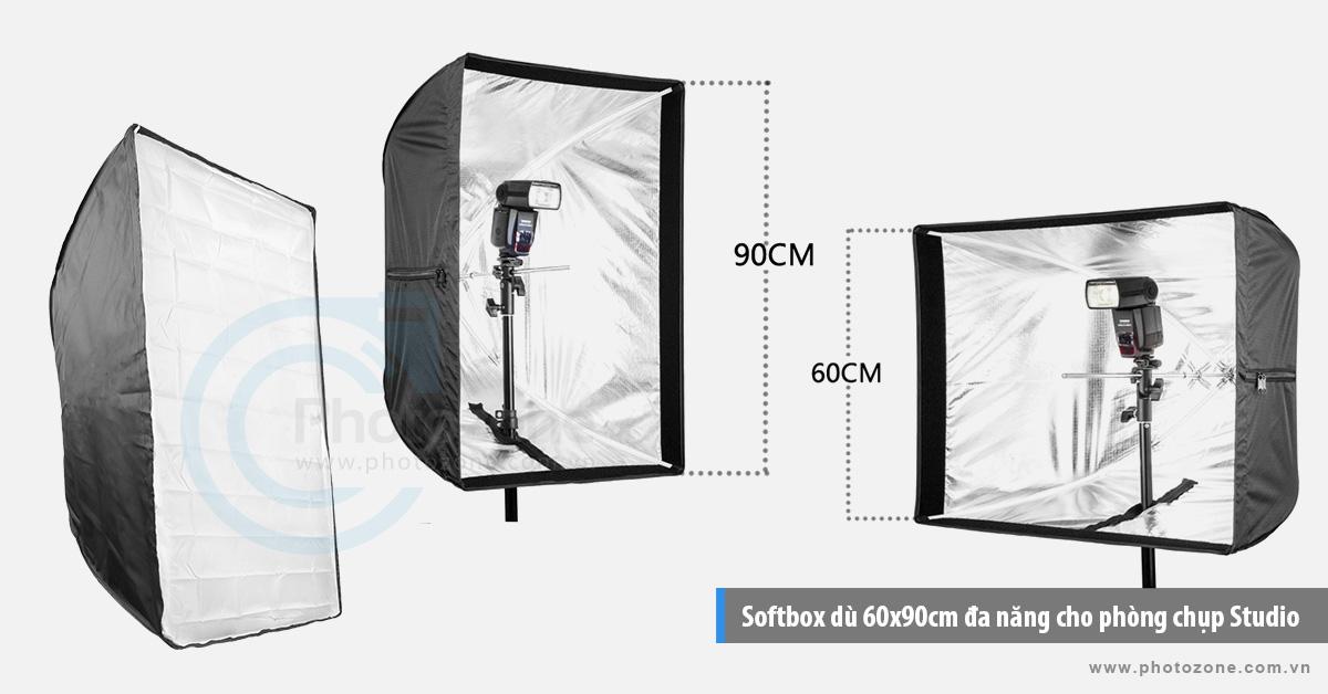 Softbox dù 60x90cm đa năng cho phòng chụp Studio