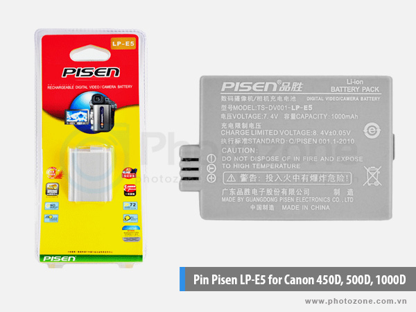 Pin Canon LP-E5 Pisen for Canon 450D, 500D, 1000D, Rebel T1i, Rebel XSi, Rebel XS, Kiss X2, Kiss X3