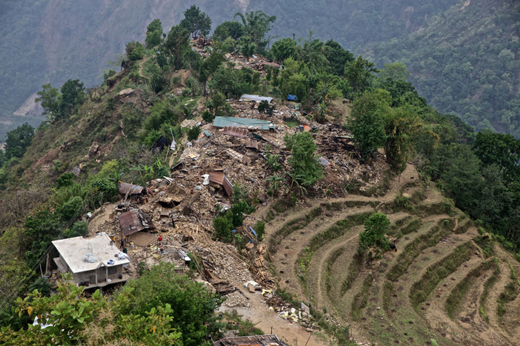 Zoomed overview of destruction after Nepal earthquake