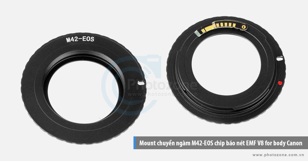 Mount chuyển ngàm M42-EOS chip báo nét EMF V8 for body Canon