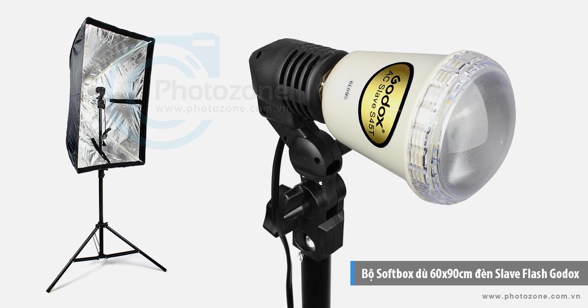 Bộ Softbox dù 60x90cm đèn Godox AC Slave Flash 45W