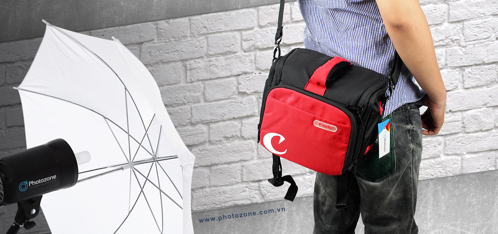 Túi đựng máy ảnh Canon C7 đen đỏ