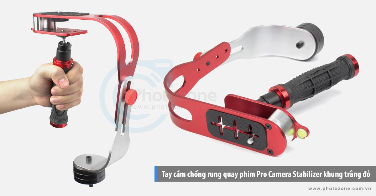 Tay cầm chống rung quay phim Pro Camera Stabilizer khung trắng đỏ