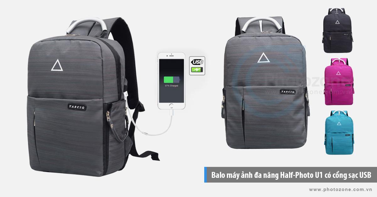 Balo máy ảnh đa năng Half-Photo U1 có cổng sạc USB