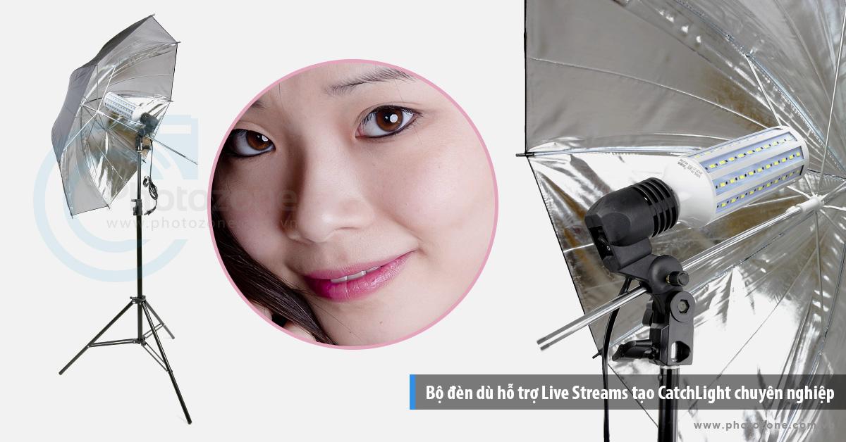 Bộ đèn dù hỗ trợ Live Streams tạo CatchLight chuyên nghiệp