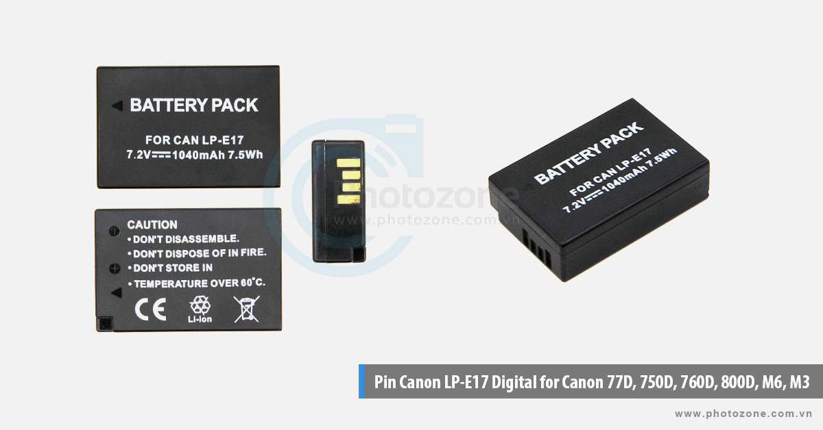 Pin Canon LP-E17 Digital for Canon 77D, 750D, 760D, 800D, M6, M3