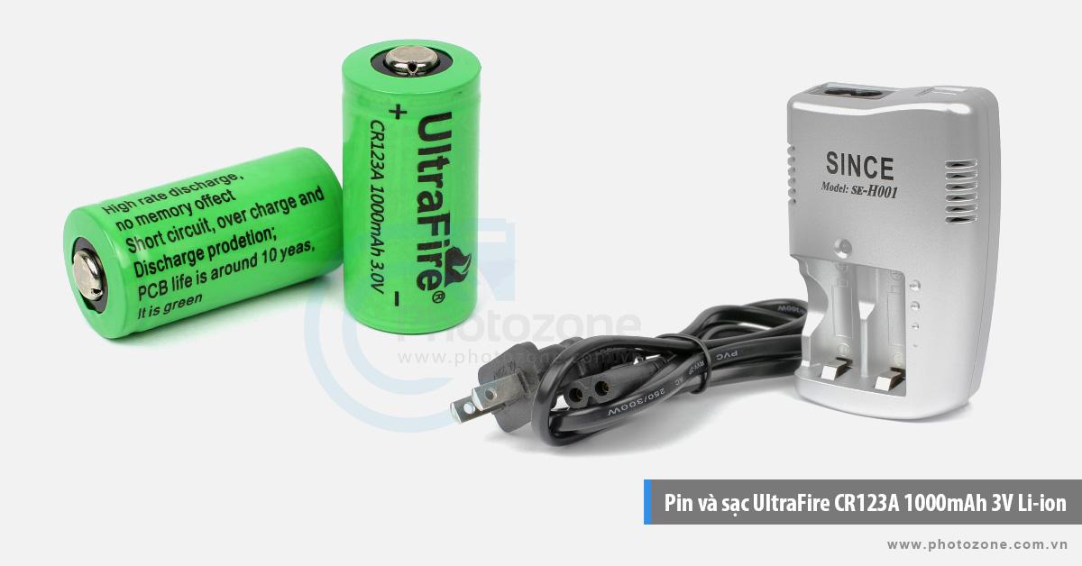 Pin và sạc UltraFire CR123A 1000mAh 3V Li-ion