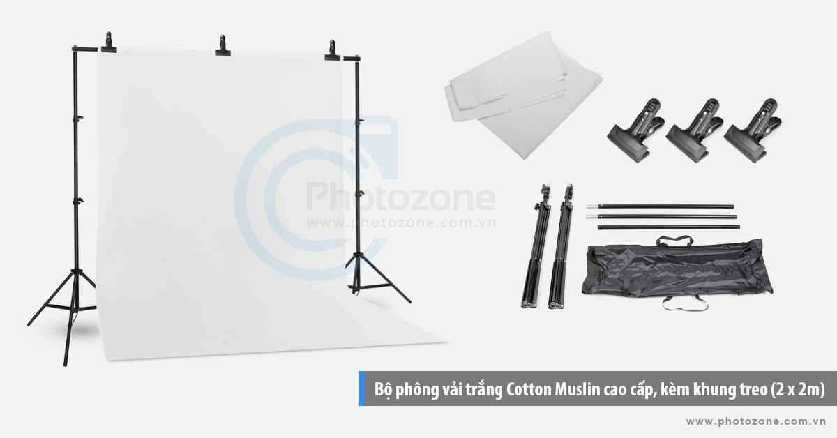 Bộ phông vải chụp ảnh trắng (1.8 x 2.9m) Cotton Muslin cao cấp, kèm khung treo (2 x 2m)