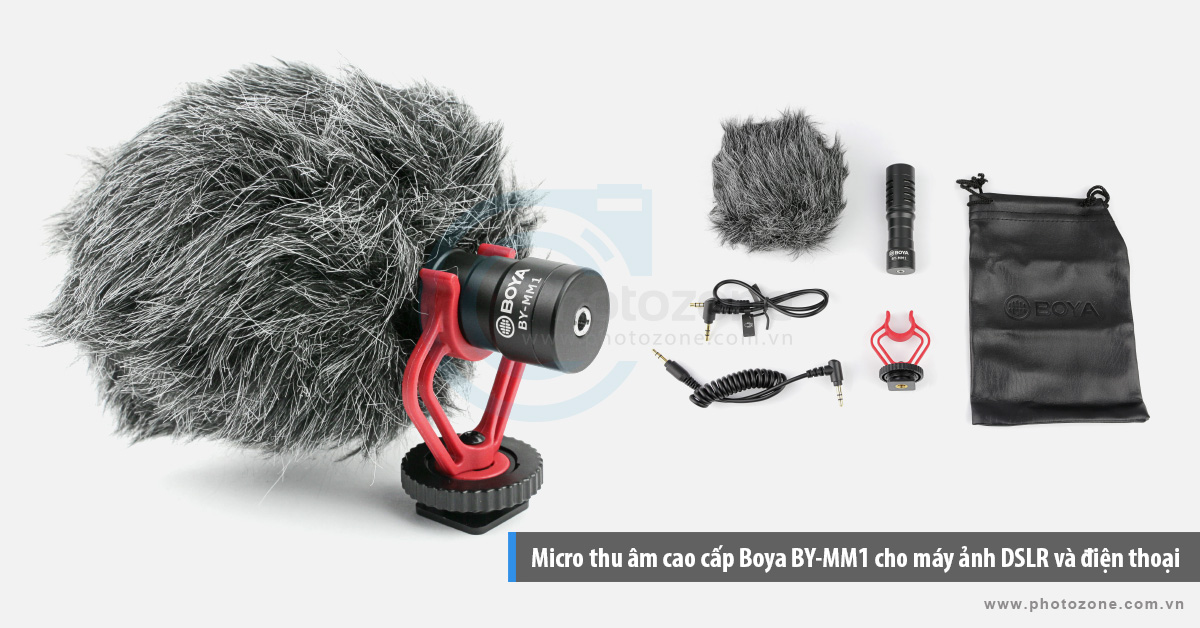 Micro thu âm cao cấp Boya BY-MM1 cho máy ảnh DSLR và điện thoại