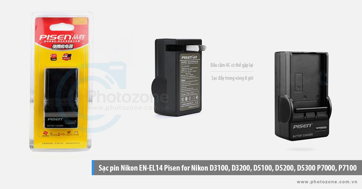 Sạc pin Nikon EN-EL14 Pisen for Nikon D3100, D3200, D3300, D3500, D5100, D5200, D5300, P7000, P7100