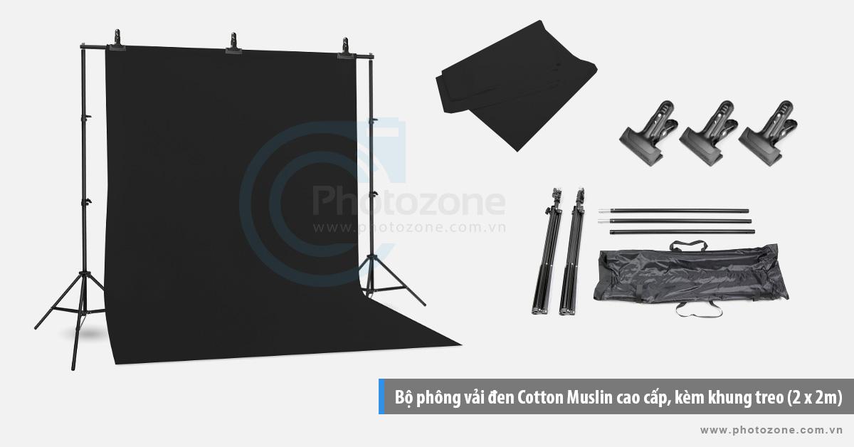 Bộ phông vải chụp ảnh đen (1.8 x 2.9m) Cotton Muslin cao cấp, kèm khung treo (2 x 2m)