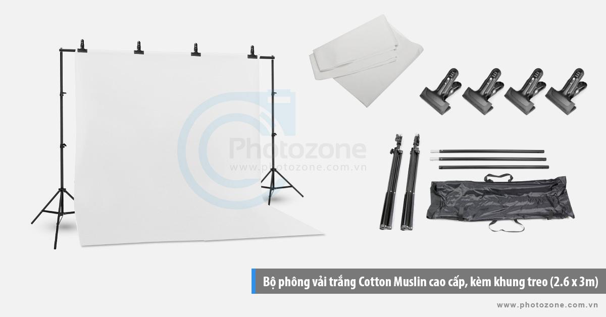 Bộ phông vải chụp ảnh trắng (3 x 4m) Cotton Muslin cao cấp, kèm khung treo (3 x 2.6m)