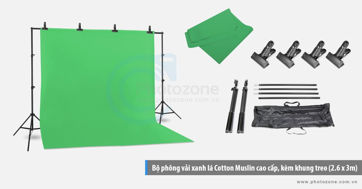 Bộ phông vải quay phim xanh lá (3 x 4m) Cotton Muslin cao cấp, kèm khung treo (3 x 2.6m)
