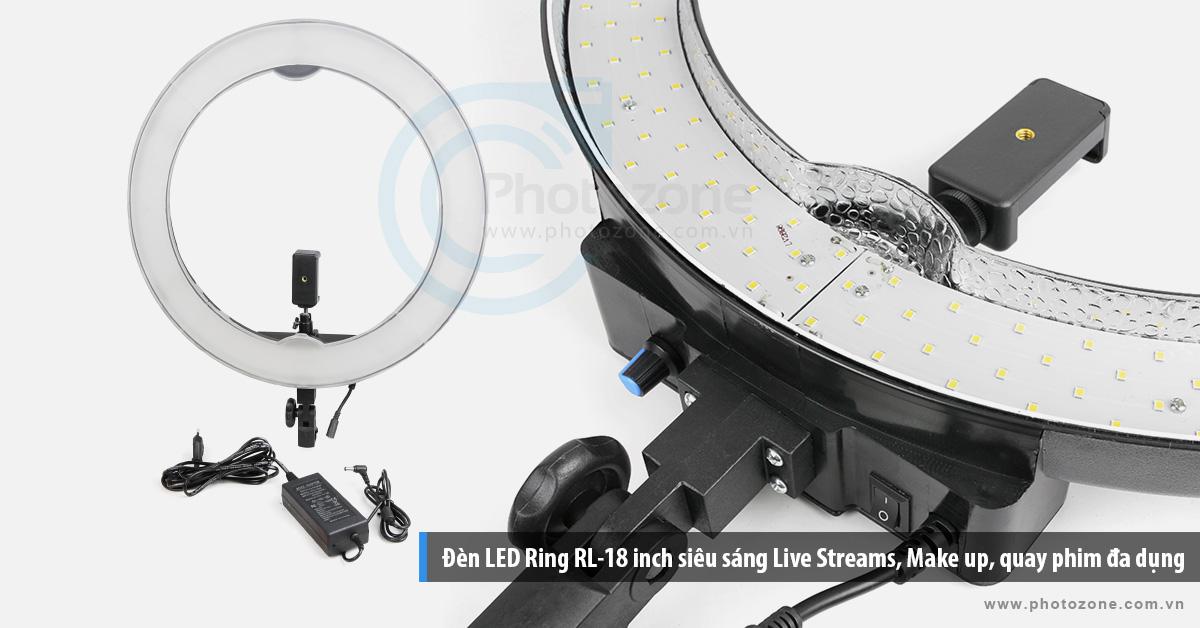 Đèn LED Ring RL-18 inch siêu sáng Live Streams, Make up, quay phim đa dụng