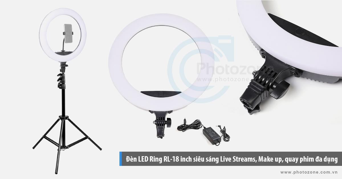 Đèn LED Ring RL-18 inch siêu sáng Live Streams, Make up, quay phim đa dụng (3200-5600K)