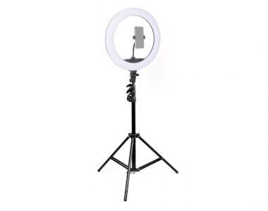 Bộ đèn LED Ring RL-18 inch siêu sáng LiveStreams chỉnh màu (3200-5600K), cổng USB sạc điện thoại + chân đèn