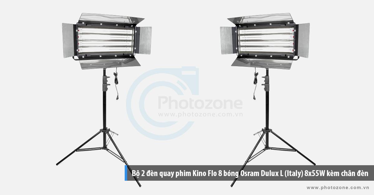 Bộ 2 đèn quay phim Kino Flo 8 bóng Osram Dulux L (Italy) 8x55W kèm chân đèn
