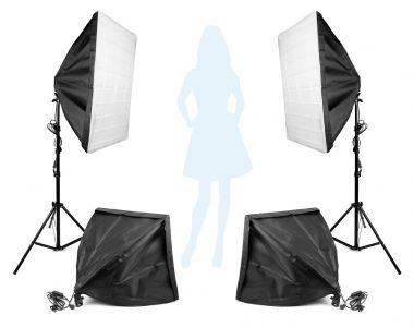 Bộ 2 Softbox đuôi 4 đèn 50x70cm + 2 Softbox 50x50cm chuyên chụp thời trang LED 400W