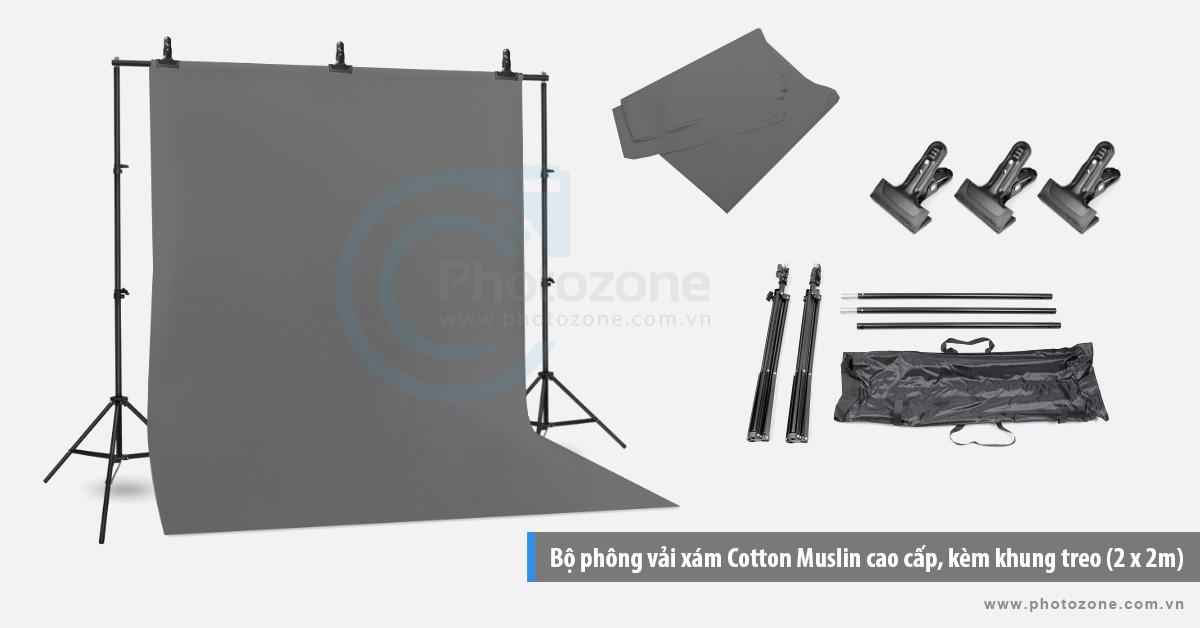Bộ phông vải chụp ảnh xám (1.8 x 2.9m) Cotton Muslin cao cấp, kèm khung treo (2 x 2m)