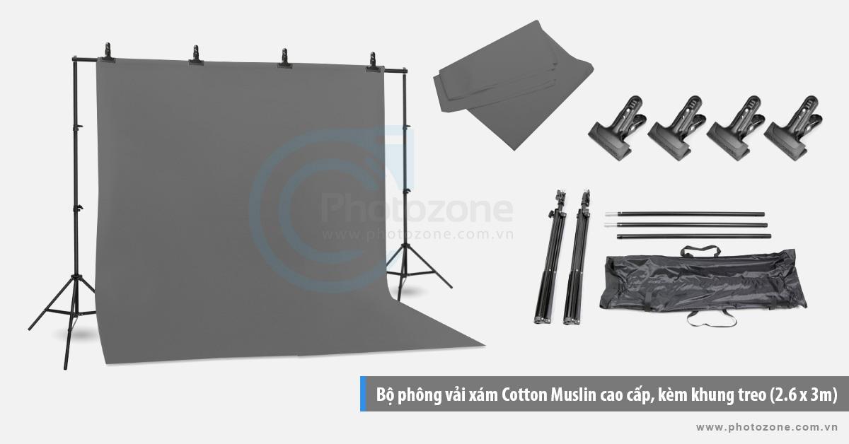Bộ phông vải chụp ảnh xám (3 x 4m) Cotton Muslin cao cấp, kèm khung treo (3 x 2.6m)